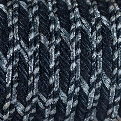Baumwolle gewachst,Wachsband, Lurexfäden, 100cm, ~16x5mm Flachriemen geflochten, SCHWARZ-WEISS-SILBE