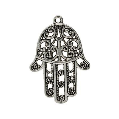 """Anhänger, """"Hand der Fatima"""", 35x24mm, antik-silberfarben, Metall"""