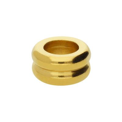 Großlochperle, innen 6mm, 10x5mm, Edelstahl, goldfarben