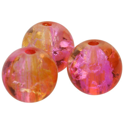 Kristallperle (3 Stück), innen 1mm, Ø 10mm, pink-orange, Glas