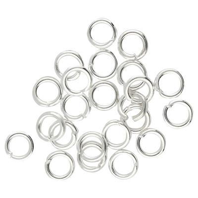 Bindering, rund, 10 Stück, 5mm, innen 3mm, Metall, silberfarben