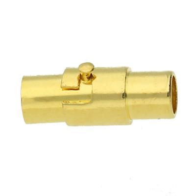 Magnetverschluss, 18x6,5mm, innen 4mm, goldfarben, Edelstahl