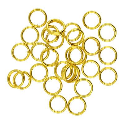 Spiralring, rund, 10 Stück, 5mm, innen 4mm, Metall, goldfarben