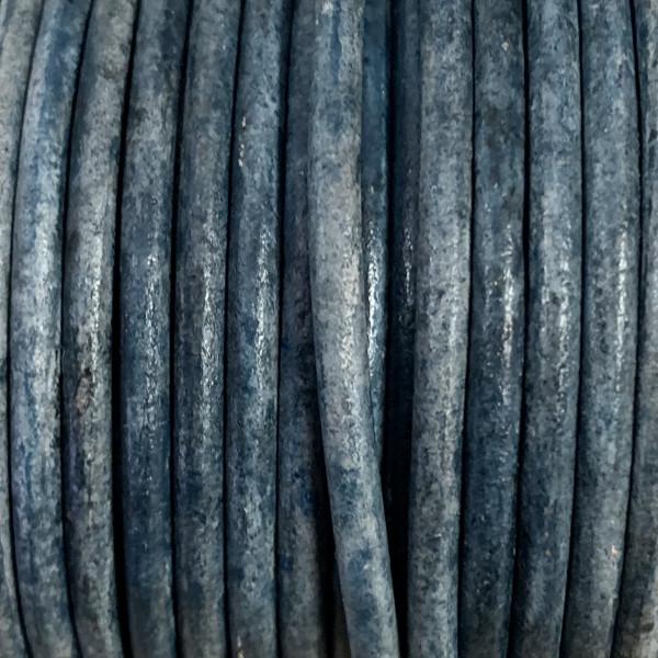 Rundriemen, Lederschnur, 100cm, 3mm, VINTAGE BLAU MELIERT