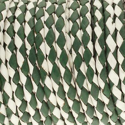 Lederband rund geflochten, 100cm, 4mm, GRÜN-WEISS