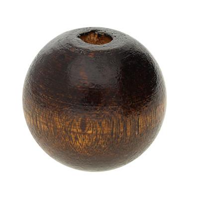 Holzperle, 25mm rund, innen 5,5mm, dunkelbraun