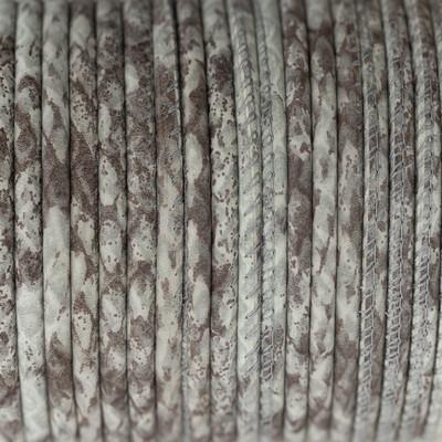Nappaleder rund gesäumt, 100cm, 4mm, CREME-TAUPE Schlangenprägung