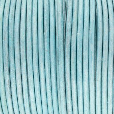 Rundriemen, Lederschnur, 100cm, 2mm, METALLIC MEERESBLAU