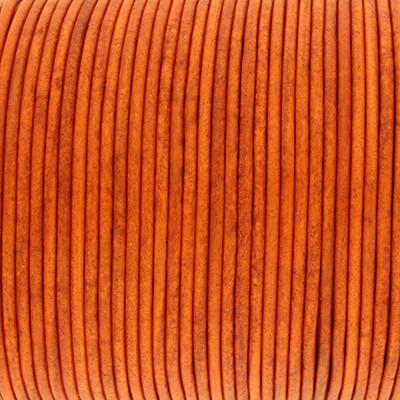 Rundriemen, Lederschnur, 100cm, 2mm, SPICY ORANGE VINTAGE