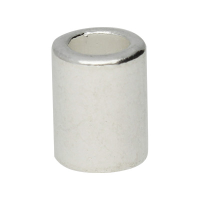 Großlochperle, innen 4mm, 8x4mm, silberfarben, Metall