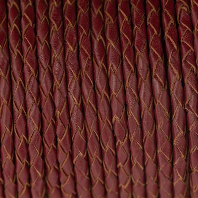 Lederband rund geflochten, 100cm, 4mm, WEINROT
