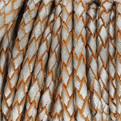Lederband rund geflochten, 100cm, 3mm, METALLIC STEINGRAU