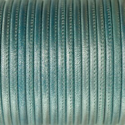 Nappaleder rund gesäumt, 100cm, 4mm, METALLIC BABYBLAU
