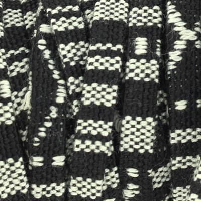 Ethnoband aus Baumwolle, 100cm, 5mm Flachriemen, SCHWARZ-WEISS