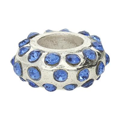 Großlochperle mit Straßsteinen, innen 6mm, 14x9mm, blau, Metall