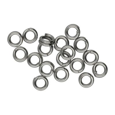 Spiralring, rund, 10 Stück, 4mm, innen 2,5mm, Edelstahl, silberfarben