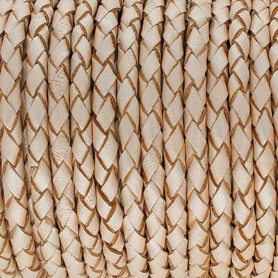 Lederband rund geflochten, 100cm, 4mm, METALLIC CHAMPAGNER