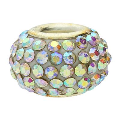 Großlochperle mit Straßsteinen, innen 5mm, 15x10mm, multicolor, Metall