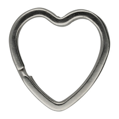 Schlüsselring, Spiralring, herzförmig, 1 Stück, 31x32x3mm, Metall, silberfarben