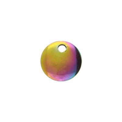 Anhänger / Plättchen, rund, Ø 8x1,3mm, Ösen-Ø 1,5mm, multicolor, Edelstahl