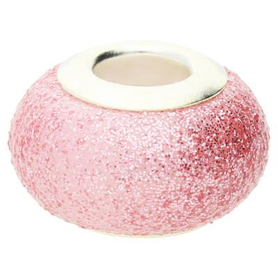 Großlochperle in Sternenstauboptik, innen 4,5mm, 14x9mm, rosa, Metall