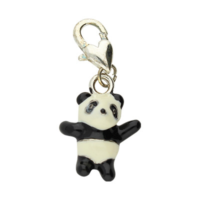 Anhänger mit Karabiner, Panda, 33x15x8mm, schwarz-weiß, Metall