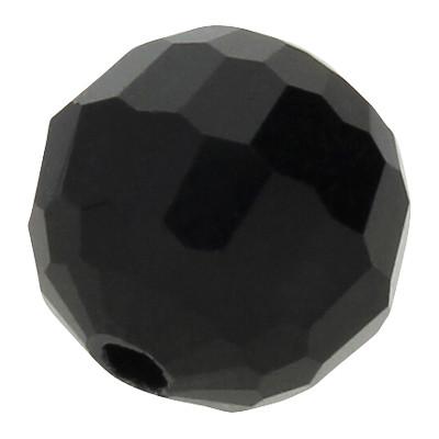 Perle, facettiert rund, innen 1mm, Ø 8mm, schwarz, Glas