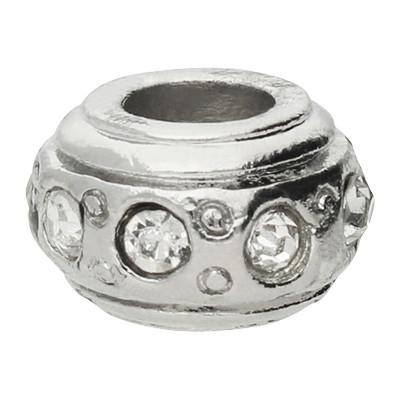 Großlochperle mit Straßsteinen, kristall, innen 4,5mm, 11x6,5mm, silberfarben, Metall