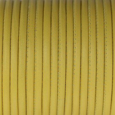 Premium Nappaleder rund gesäumt, 100cm, 2,5mm, KANARIENGELB