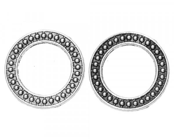 Zierring (2 Stück), innen12,5mm, 20x2mm, antik silberfarben, Metall