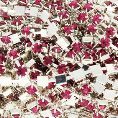 Strass-Kette, Metall, 50cm, ca. 4mm breit, rosé- & silberfarben