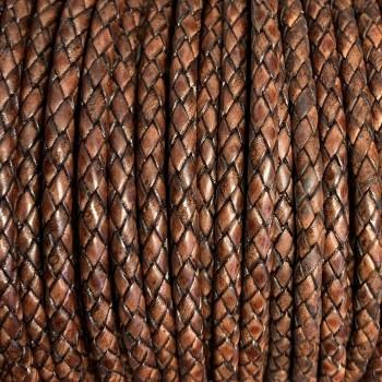 Premium Lederband rund geflochten, 100cm, 3mm, ANTIK ROTBRAUN meliert