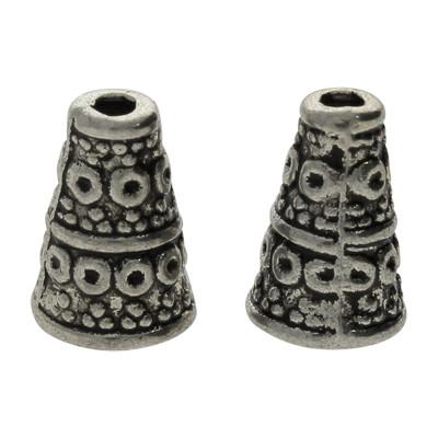 Zierkappe (2 Stück), 10x7mm, innen 4mm, Metall, silberfarben