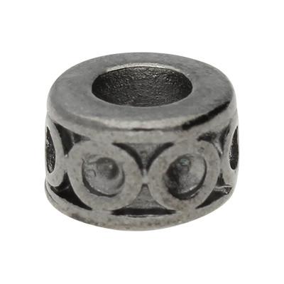 Großlochperle, innen 5mm, 10x7mm, schwarz, Metall