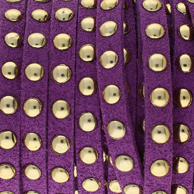 Textilband in Wildlederoptik mit goldfarbenen Nieten, 6,0x2,5mm - VIOLETT