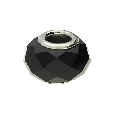 Großlochperle, innen 5mm, 14x10mm, schwarz, Metall