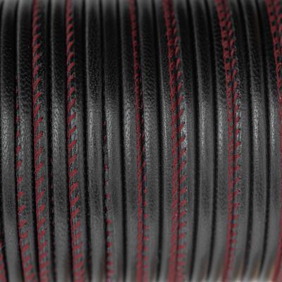 Nappaleder rund gesäumt, 100cm, 4mm, SCHWARZ Kontrastnaht Rot