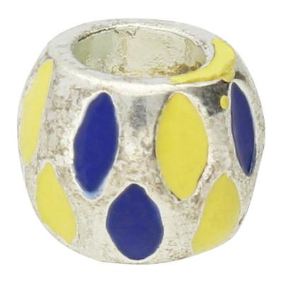 Großlochperle mit Emaille, innen 4,5mm, 8,5x7mm, blau-gelb Metall