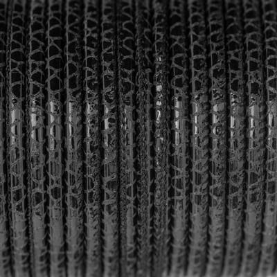Nappaleder rund gesäumt, 100cm, 4mm, SCHWARZ-ANTHRAZIT Reptilprägung