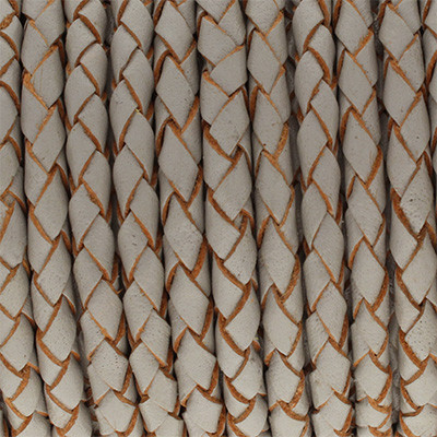 Lederband rund geflochten, 100cm, 6mm, HELLGRAU mit Naturkanten