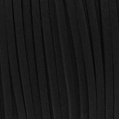 Textilband in Wildlederoptik vorgeschnitten (100cm), 3,0mm breit - SCHWARZ