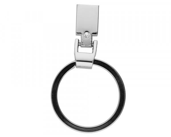 Schmuckkappe für Schlüsselbänder inkl. Schlüsselring & Strasssteinchen, Metall, silberfarbenKapp