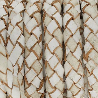 Lederband rund geflochten, 100cm, 5mm, WEISS mit Naturkanten