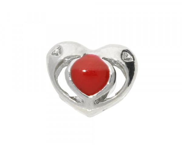 Großlochperle Herz mit Emaille, 10x12x9mm, innen 5mm, silberfarben, Metall