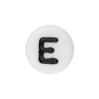 Acrylbuchstabe E (10 Stück), innen 1mm, 7x4mm, schwarz-weiß