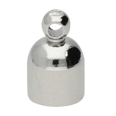 Endkappe mit Öse, 9,5x6mm, Loch-Ø 4,1mm, Metall, silberfarben