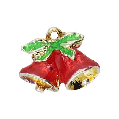 Anhänger, Weihnachtsglöckchen, 10x8mm, rot- & silberfarben, Metall