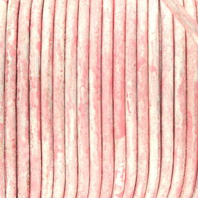 Rundriemen, Lederschnur, 100cm, 2mm, VINTAGE BABYROSA meliert