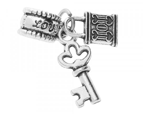Anhänger, Schlüssel und Schloss, innen 5mm, silberfarben, Metall