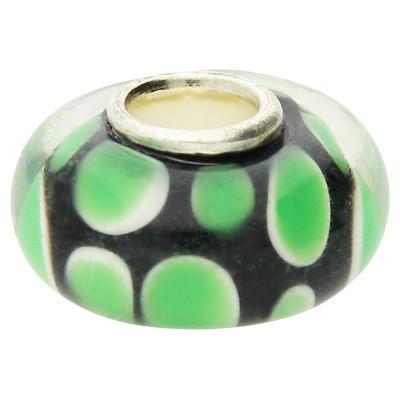 Großlochperle , innen 4mm, 14x8mm, grün-schwarz, Glas und Metall